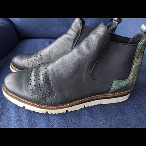 Women's navy blue leather boots, size 38